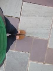 Stone sidewalk Raleigh, North Carolina.